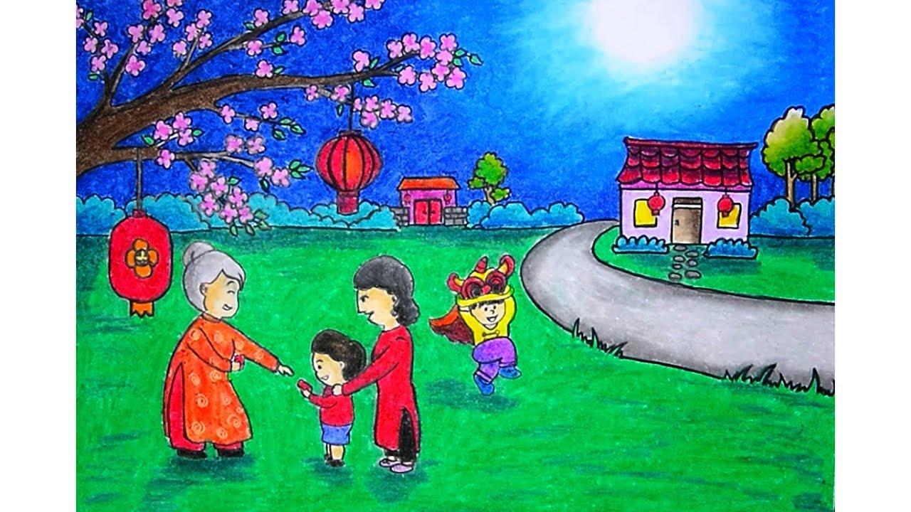 Cara Menggambar Pemandangan Tema Imlek CHINESE NEW YEAR Dengan Gradasi Warna Oil Pastel