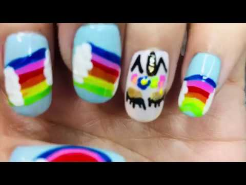 easy unicorn  rainbow nail art for beginners 2019