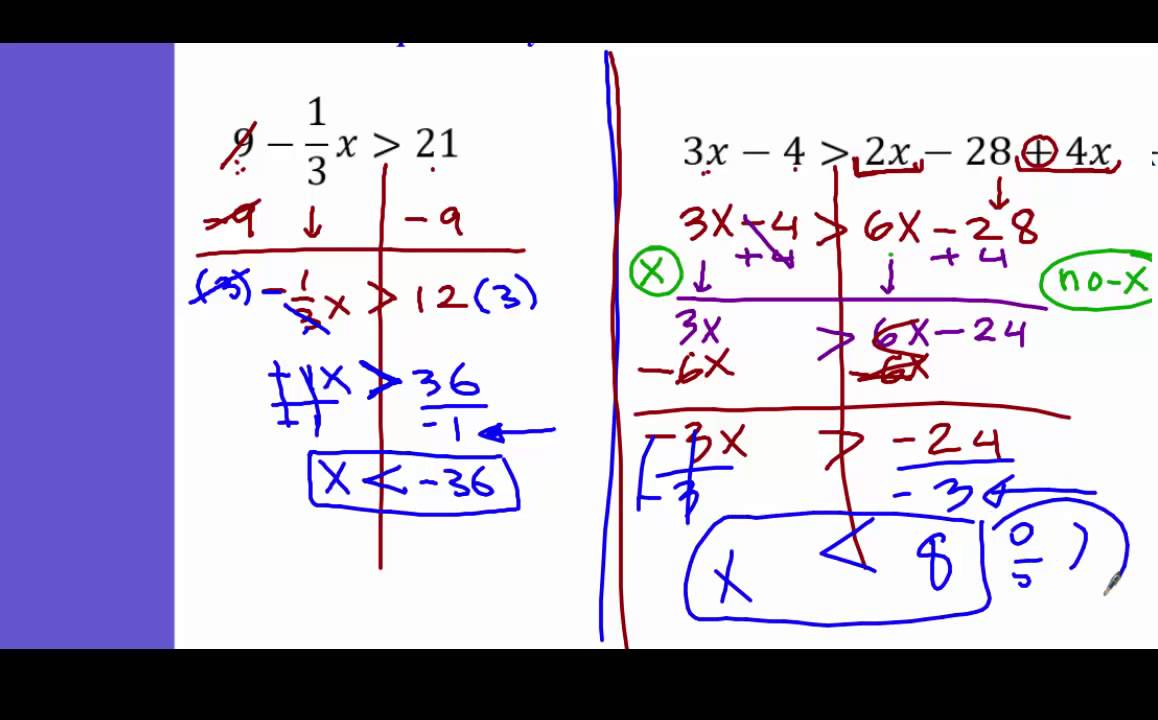 Algebra 1 solving inequalities with fraction variable on both ...
