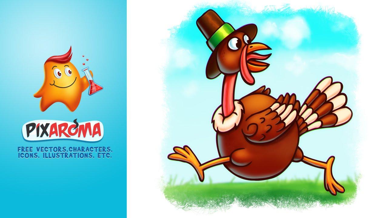 thanksgiving cartoon turkey photoshop digital painting youtube