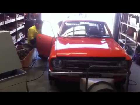 Datsun 120y fuel injected Turbo on dyno - YouTube
