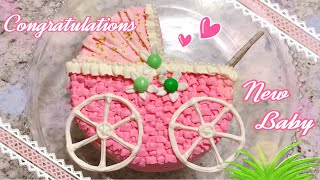 【赤ちゃん誕生のお祝いに】乳母車のケーキ♡ thumbnail
