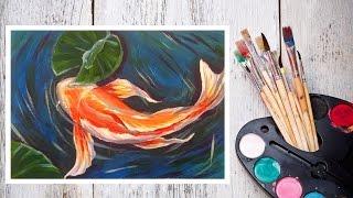 Рисуем Японского Карпа КОИ АКРИЛОМ #Dari_Art(Карпы КОИ - декоративные одомашненные рыбы, яркой расцветки, что не может не радовать глаз! В этом видео..., 2015-06-25T07:36:57.000Z)