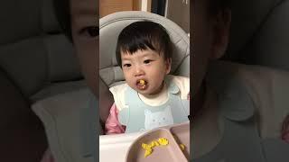 단호박분유빵 간식 뱉는 딸 10개월 아기