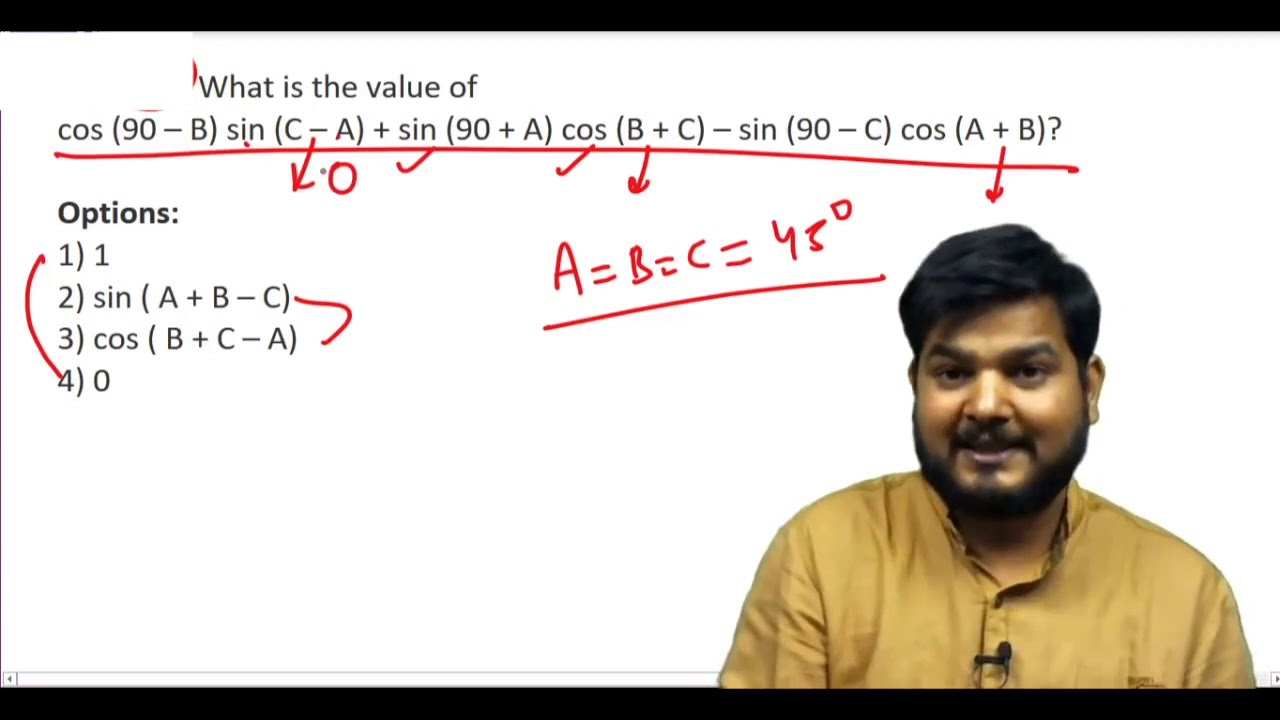 Q54 What Is The Value Of Cos 90 B Sin C A Sin 90 A Ssccgl Maths Questions Youtube