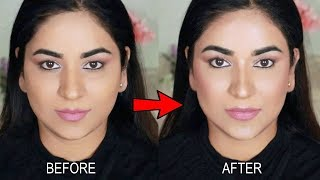 How to SLIM YOUR FACE INSTANTLY with makeup! Contour, Highlight, Bronzer and Blush Tutorial