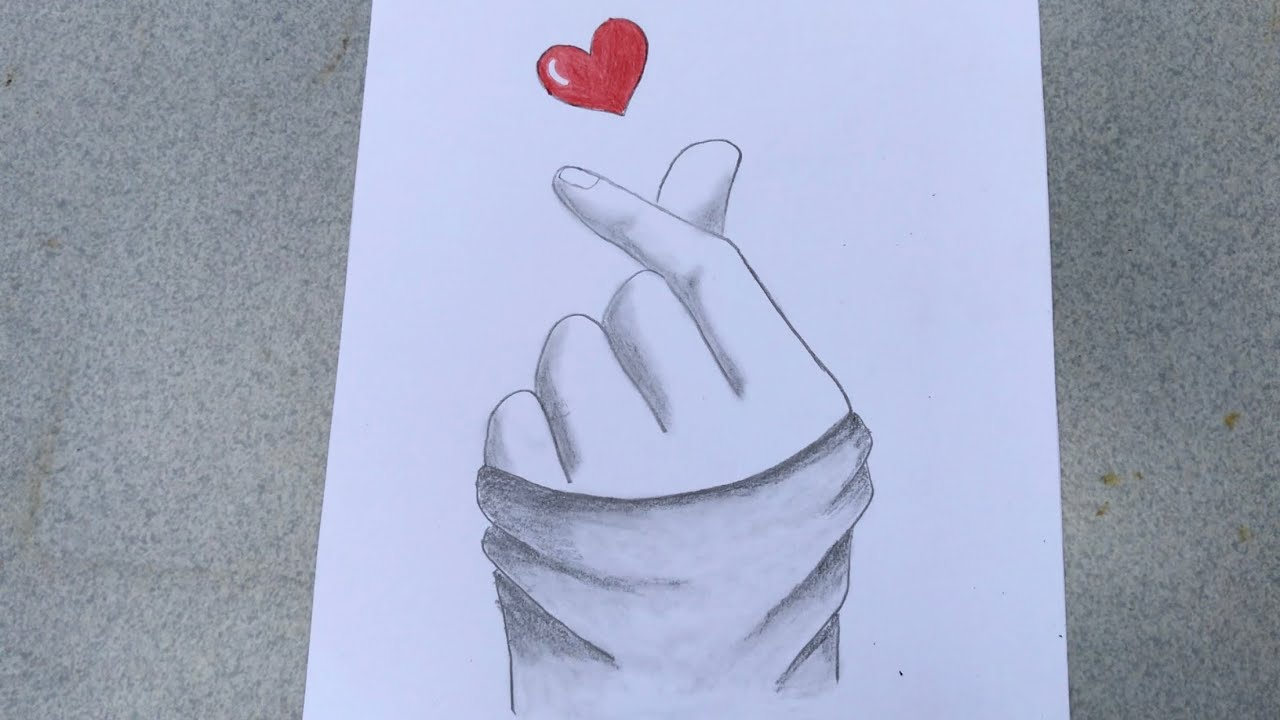 vẽ tranh bàn tay thả tim bằng BÚT CHÌ | how to draw with pencil