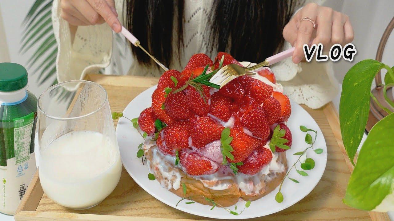 vlog ) 한달 -10KG 유지어터의 하루만에 -1.5KG 살 빠지게 해준 그릭 요거트 만들고 딸기 생크림 아이스크림 와플 🍓 먹는 자취생 하루 일상 daily video