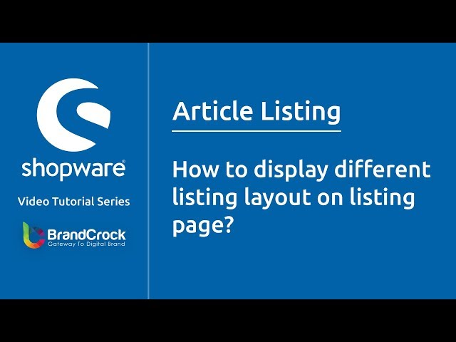 Shopware tutorials: How to display different listing layout on listing page
