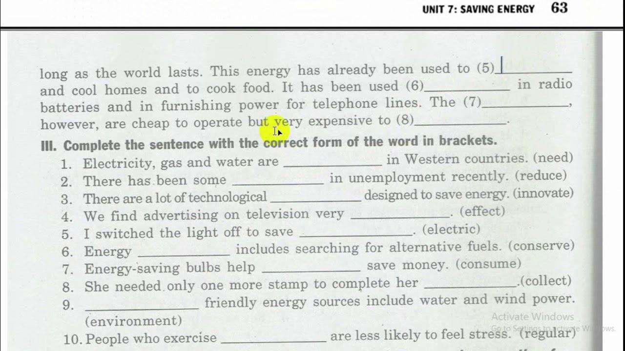 Unit 7 English 9 – Bài Tập Tiếng Anh Mai Lan Hương 9 (phần I II III) – Saving Energy
