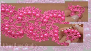 How To Make Crochet Tape Lace With Beads Урок 27 Нежное ленточное кружево