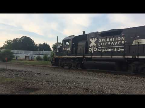 Two NS Trains in Loudonville, OH Featuring Operation Life Saver 5358