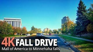 Fall driving 4K60fps - Mall of America (Bloomington) to E Minnehaha Pkwy - Minnesota, USA