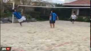 Ronaldinho scores stunning shark attack style volley on the sand !!!