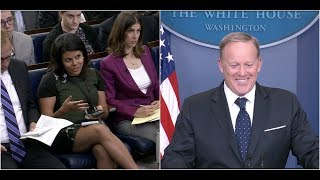 Sean Spicer Shuts down and laughs at Reporter Asking if He is Still Going to be the Press Sec!!