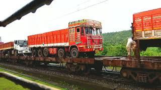 Trucks on a Train | Indian Railways | The longest goods train | Konkan Railways |