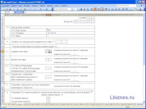 Заполнение заявления формы Р11001 часть №1