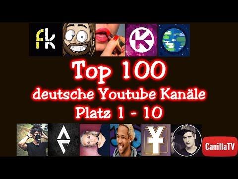 Top 100 deutsche Youtube Kanäle (Teil 1) Platz 1-10 - CanillaTV