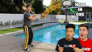 MANSION MINI GOLF TRICKSHOT BASKETBALL!!
