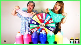 Giant Mystery Wheel 3 Colors of Slime Glue Switch Up Challenge with Greedy Granny