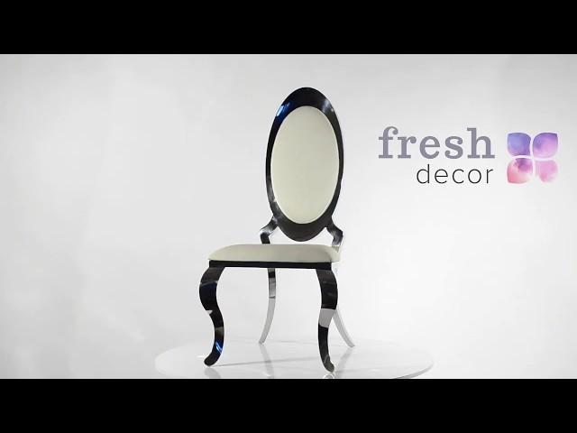 Стул высокий серебряный с белой обивкой удобный и качественный стул.Стулья троны для дома и гостиной