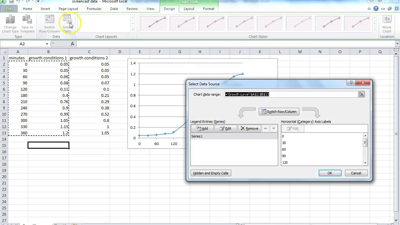 how to do a scatter plot  growth curve  in excel