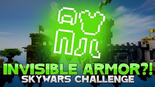 THE INVISIBLE ARMOR CHALLENGE + FLYING GLITCH?! ( Hypixel Skywars )