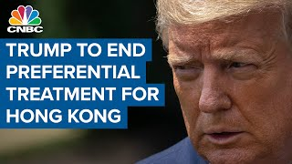 President Donald Trump signs executive order to end preferential treatment for Hong Kong