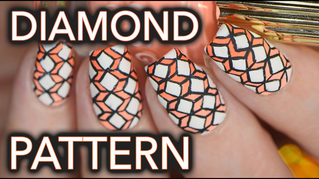 Geometric intricate diamond nail art??? - YouTube