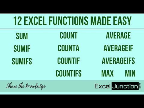 12 Excel FUNCTIONS Made Easy [SUM, SUMIF, COUNT, COUNTIF, MAX, MIN.....] | ExcelJunction.com