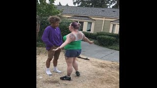 lady tries to fights kid then...