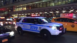 12 NYPD Police Units Responding & Blasting Their Rumbler Sirens As They Make Their Way Thru Traffic