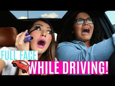 FULL FACE OF MAKEUP WHILE DRIVING CHALLENGE! | *Gone Wrong*
