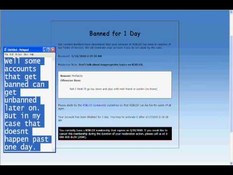 Banned account on roblox . com - YouTube