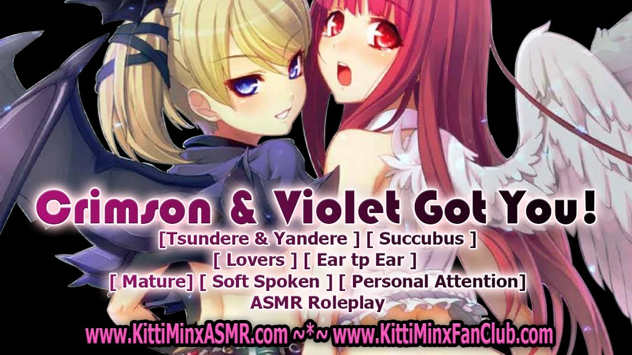 Kitti Minx ASMR - Crimson & Violet Got You! [ Tsundere ] [ Yandere ] [ Succubus ] [Roleplay