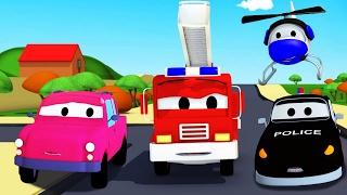 La Super Patrulla: Camión de Bomberos y Patrulla de Policía en la Camioneta perdida en Auto City 🆘