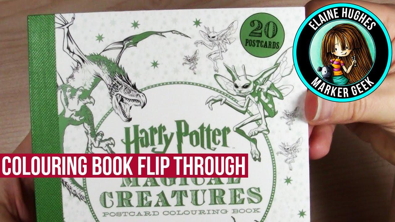 Harry Potter Magical Creatures Postcard Colouring Book Flip Through