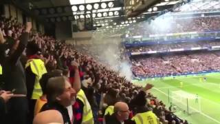 Crystal Palace fans celebrating their second goal against Chelsea at Stanford Bridge!