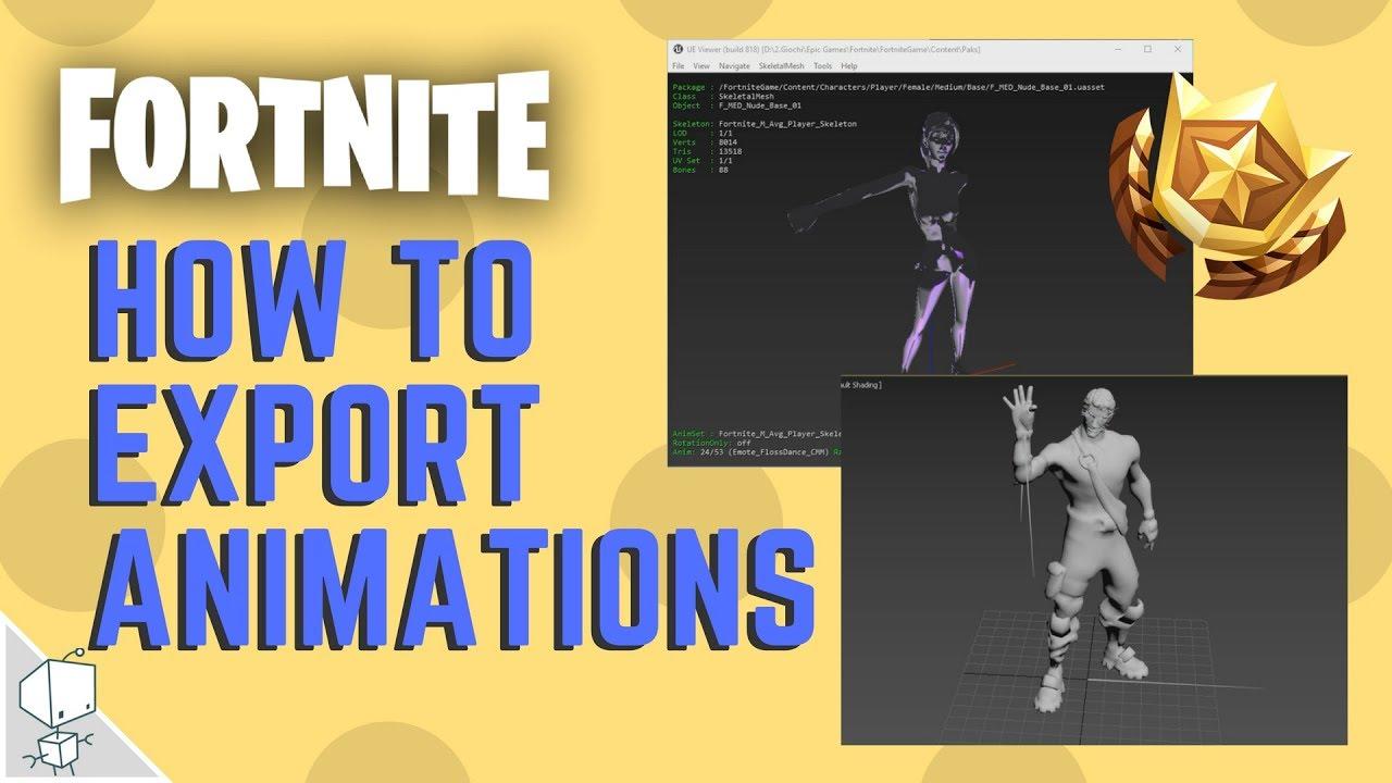 #2 How to Export Fortnite Animations Emotes - umodel blender 3d max maya c4d