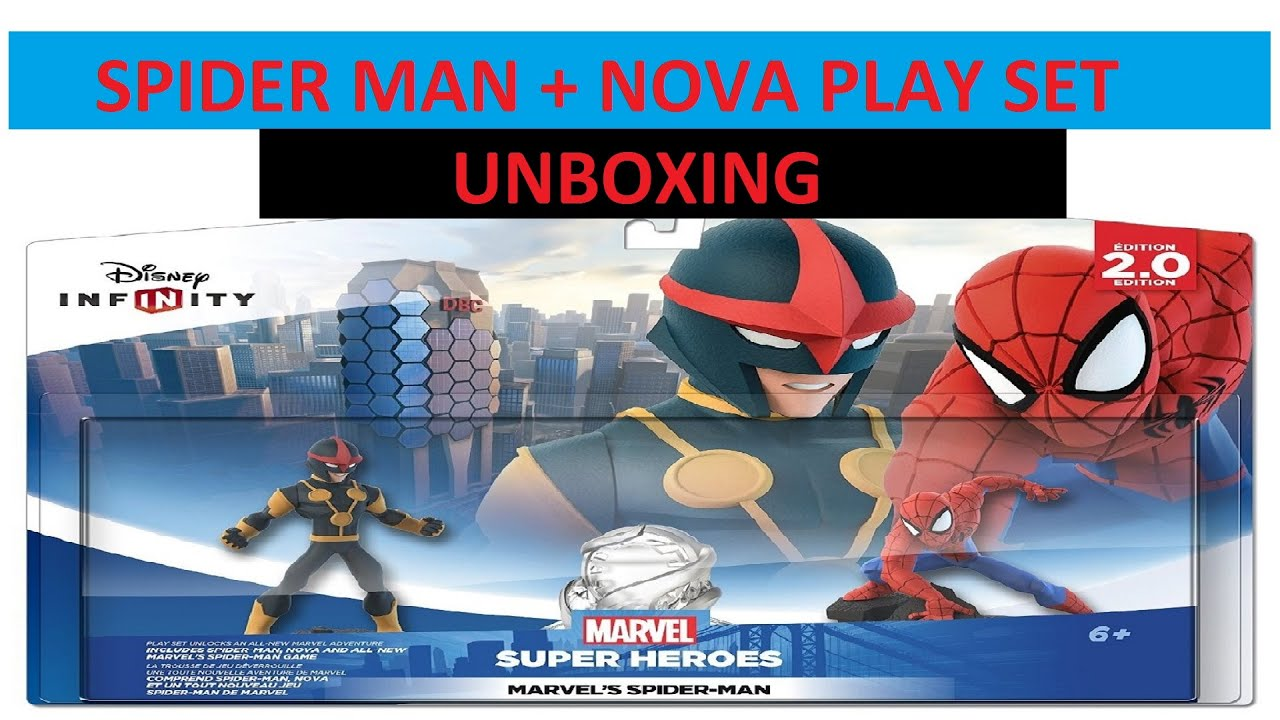 disney infinity 20 spiderman and nova unboxing play set