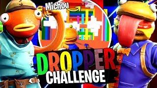 Michou le boss du Dropper Challenge, chute de 500m avec la Team Crouton sur Fortnite Créatif !