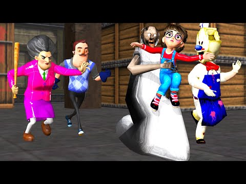Scary Teacher 3D Rescue Tani - Miss T And Hello Neighbor Win Granny And Ice Scream 4