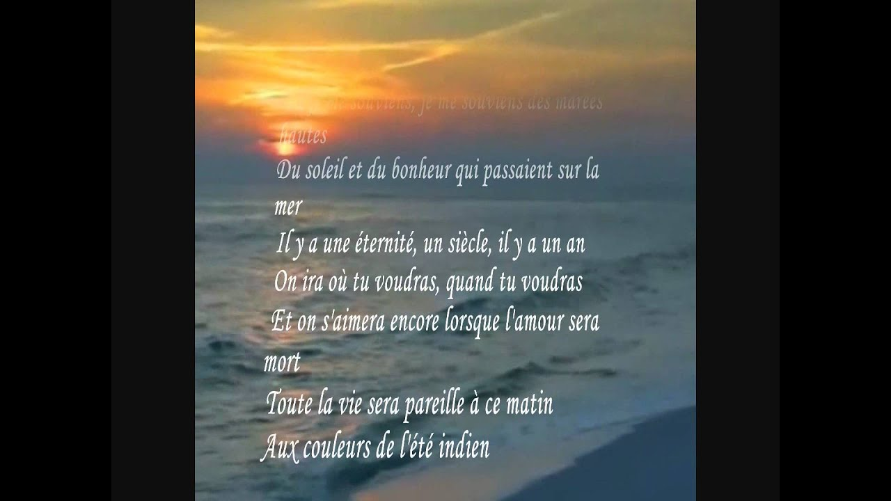 L ete indien Joe Dassin lyrics - YouTube