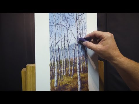 Time Lapse Painting Birch Trees with Pastels