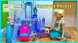Giant Frozen Elsa's Ice Palace Castle & Big Egg Surprise! Elsa and Anna Toys