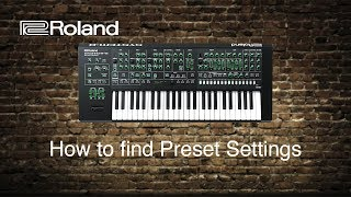 Roland System-8 - How to find Preset settings