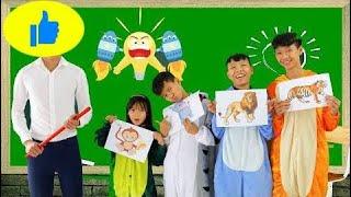 Kids Go To School Learn Colors with Animals Monkeys eat Banana The Finger Family Song Nurser  # 479