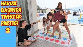 We played Twister by the pool