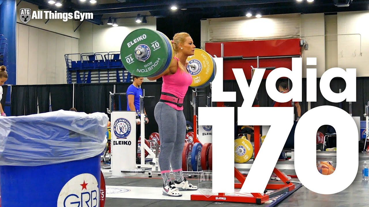 Lydia Valentin Squats up to 170kg x3 2015 World Weightlifting Championships