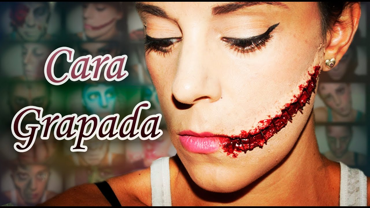 Maquillaje halloween cara grapada makeup fx 14 silvia for Caras pintadas para halloween